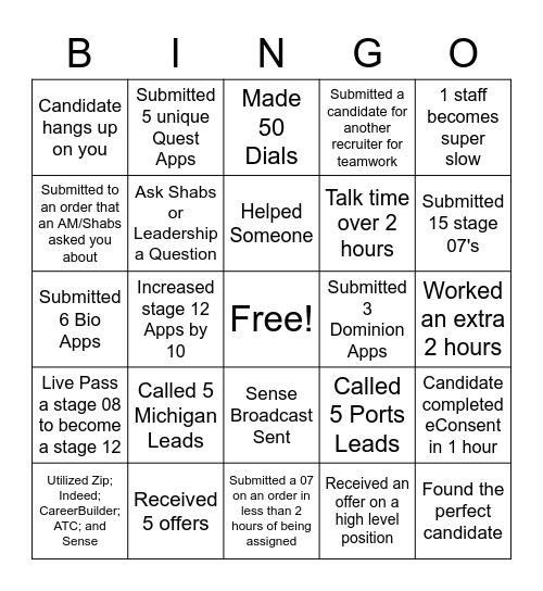 Recruiter Bingo Card