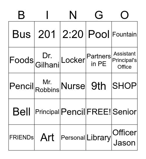 Valentine's Day Bingo- High School Edition Bingo Card