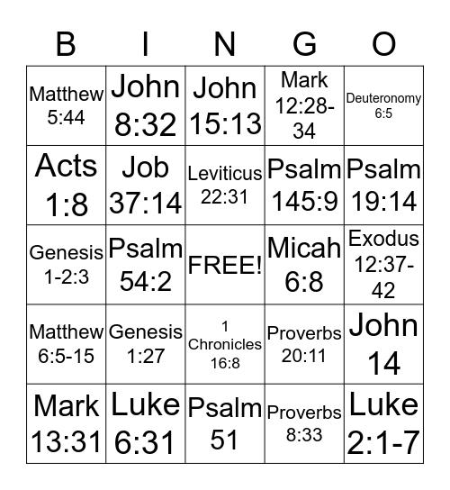 Bible Drill Bingo Card