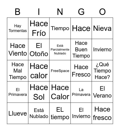 El Tiempo Bingo Card