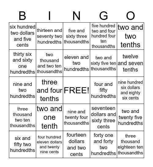 Decimal Bingo Card