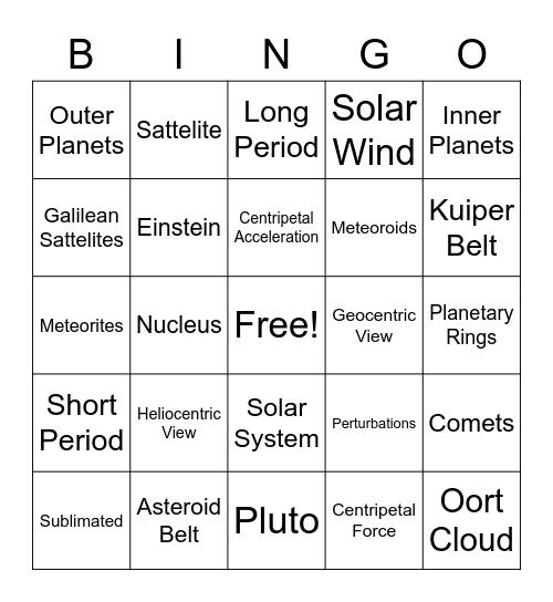 Physical Science Module 11 Bingo Card