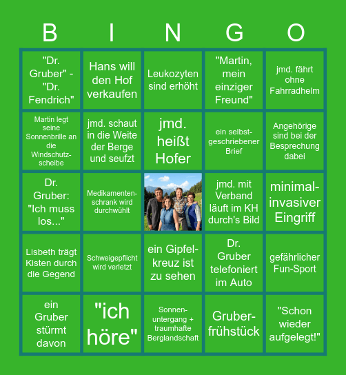 BERGDOKTOR- Bingo Card