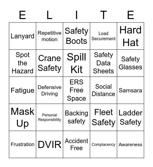 ERS Safety Bingo Card