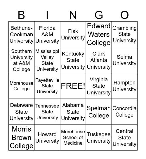 Historical Black Colleges Bingo Card