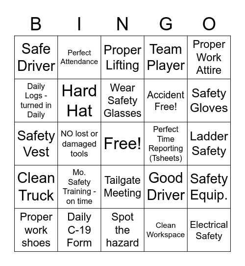 DES Electrical, Inc. Bingo Card