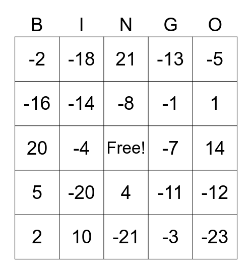 Integer Bingo Card