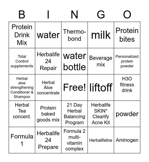 Herbalife Nutrition Bingo Card