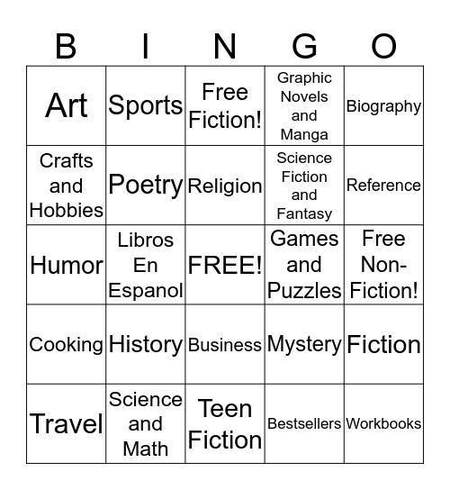 Bookstore Safari Bingo Card