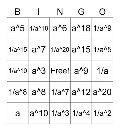 Exponents Bingo Card