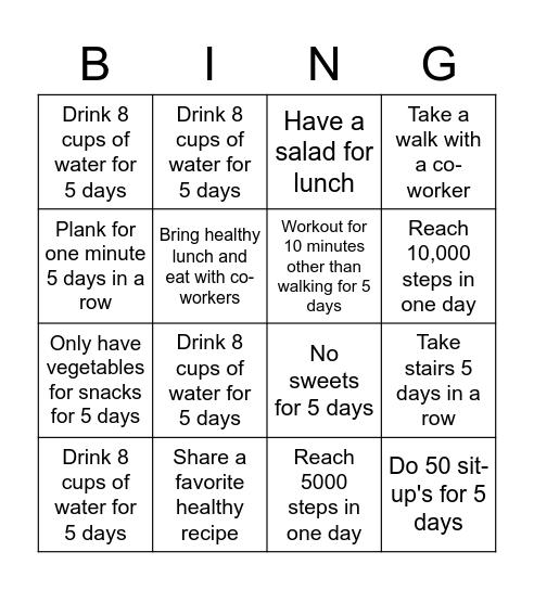 VDC Healthy Lifestyle Bingo Card