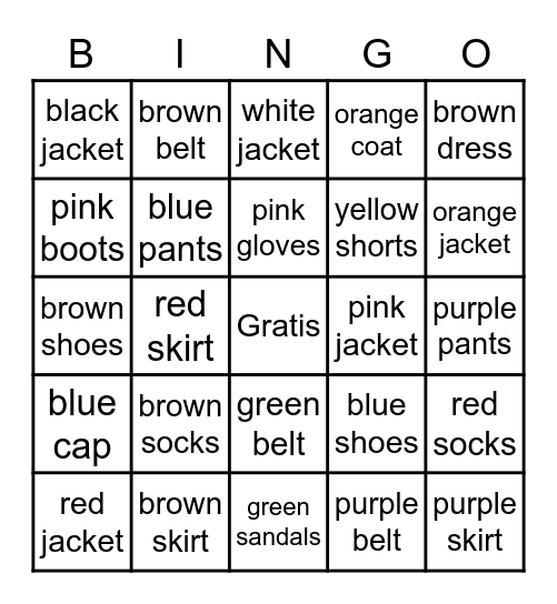 3rd Grade- Clothing and Colors Bingo Card