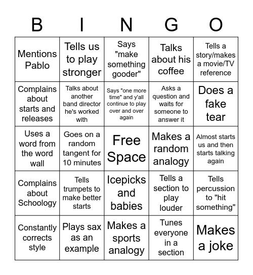 SHAW Bingo Card
