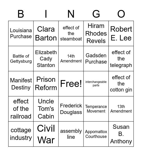 US Industrialism/Reform/Civil War Bingo Card