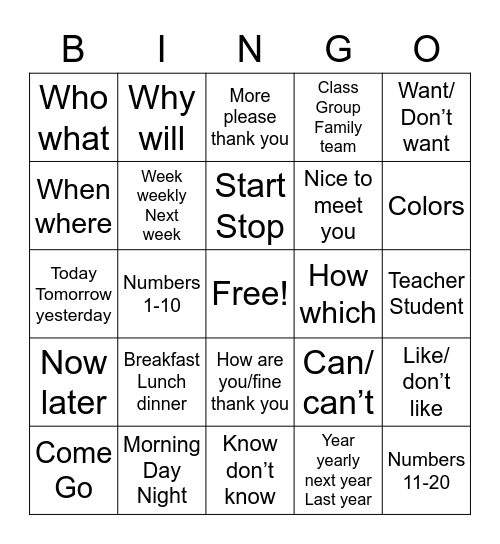 Sign language vocabulary Bingo Card