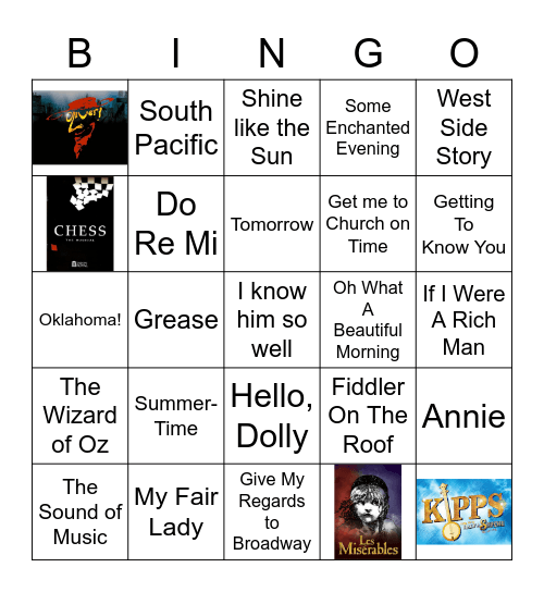 Musical Bingo! Songs of Musicals/Broadway Bingo Card