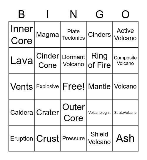 Volcanoes Bingo Card