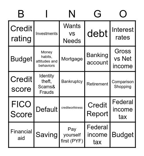 Financial Literacy Bingo Card