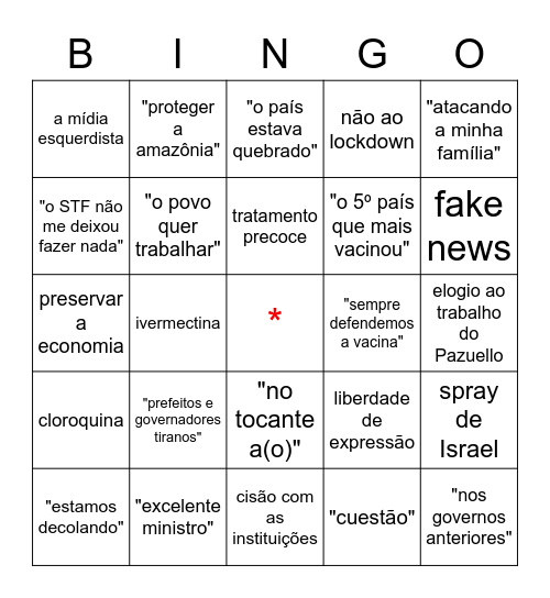 Pronunciamento Bolsonaro 23/03/2021 Bingo Card