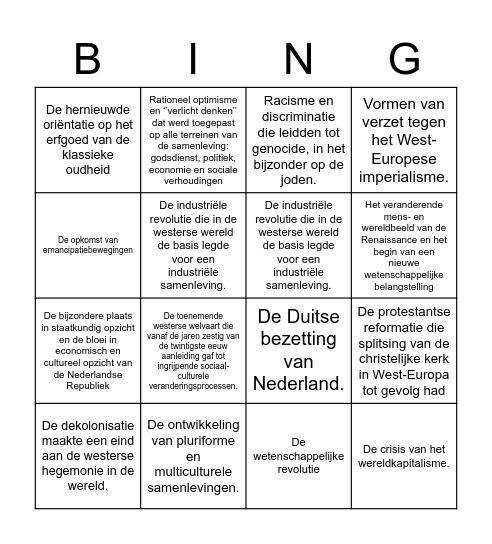 KENMERKENDE ASPECTEN BINGO CSE a Bingo Card