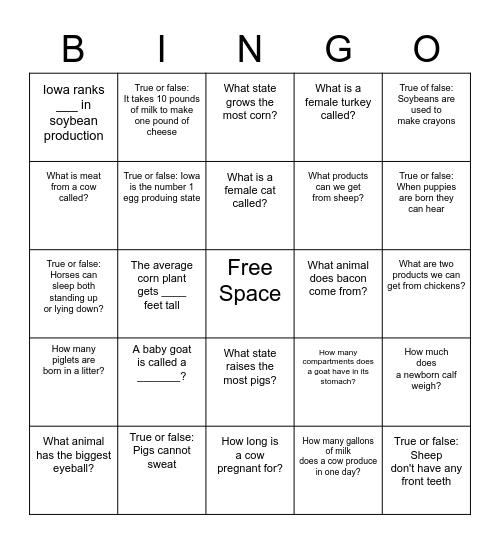 Animal Learning Day Bingo Card