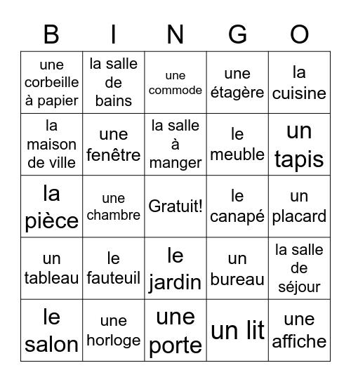 Les meubles (Fr1) Bingo Card