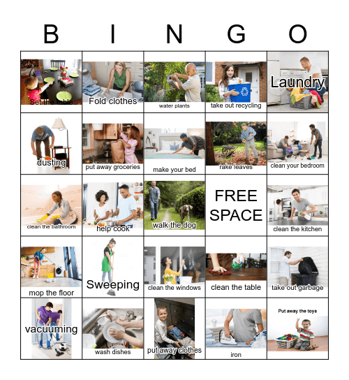 Chores at Home Bingo Card