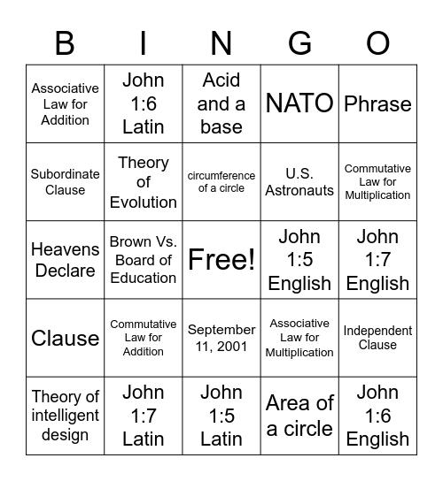 CC week 22 review Bingo Card