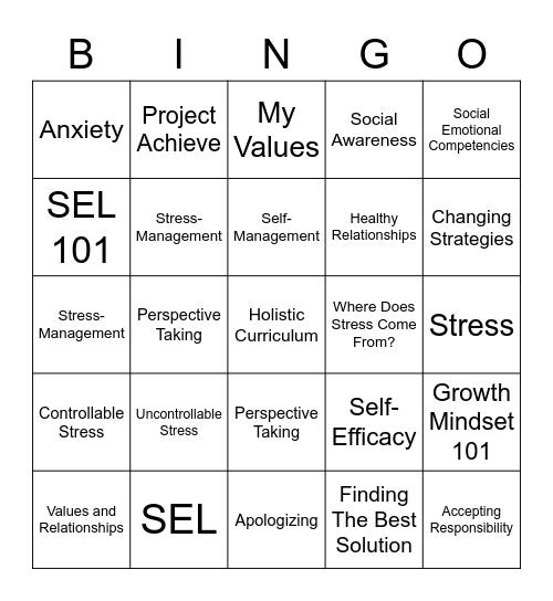 SEL Bingo Card