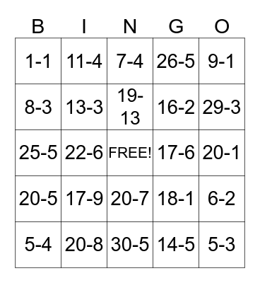 Subtraction  Bingo Card