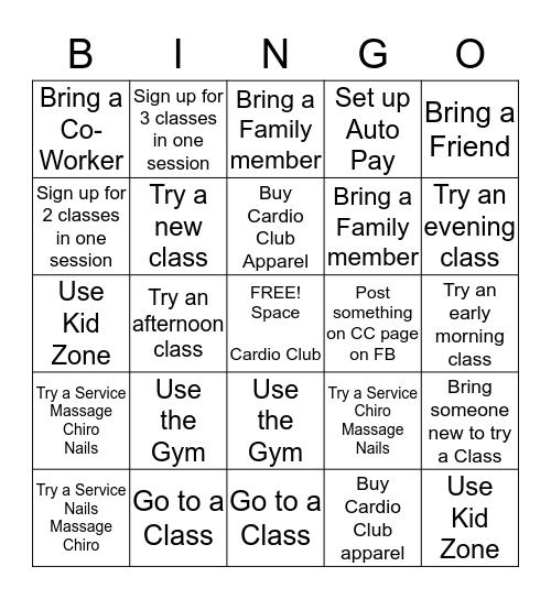 Cardio Club Bingo Card