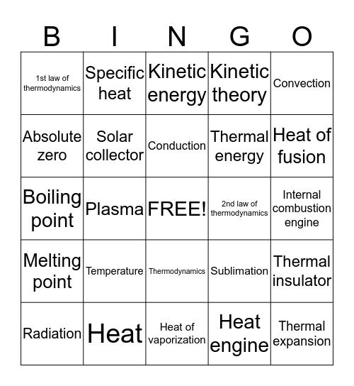 Temperature Bingo Card