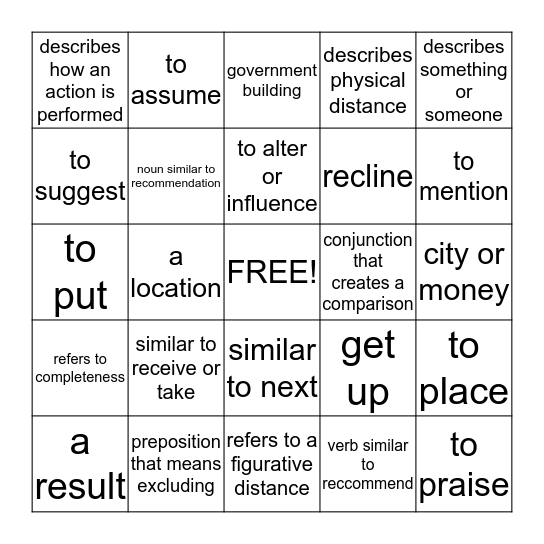 Commonly Confused Word Pairs  Bingo Card