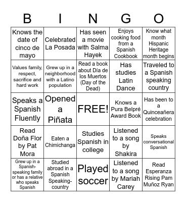 Latin, Latino, Hispanic, Chicano Bingo Card
