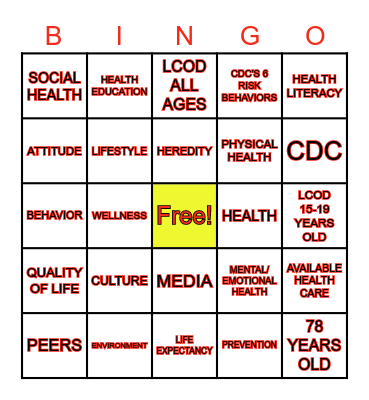 INTRODUCTION TO HEALTH Bingo Card