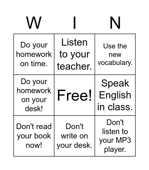 Imperatives Bingo Card