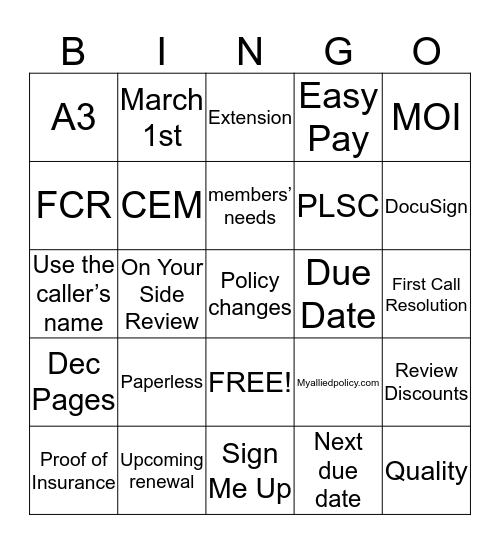 It's all about the options  Bingo Card