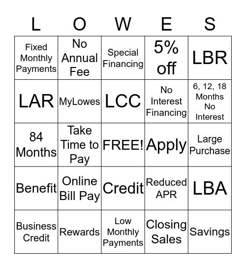 Lowe's Credit Bingo Card