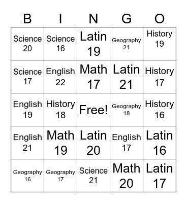 CC Bingo Review Bingo Card