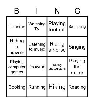 Hobbies Bingo Card