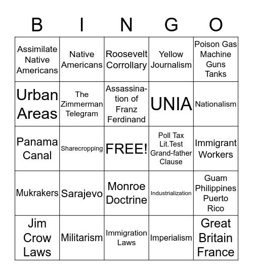 History IA3 Review Bingo Card