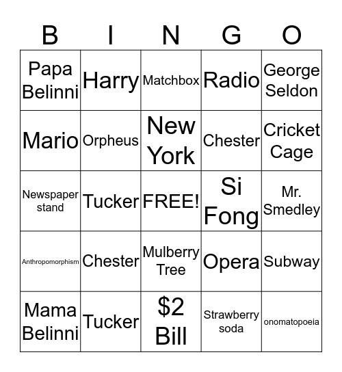 Cricket In Times Square Bingo Card
