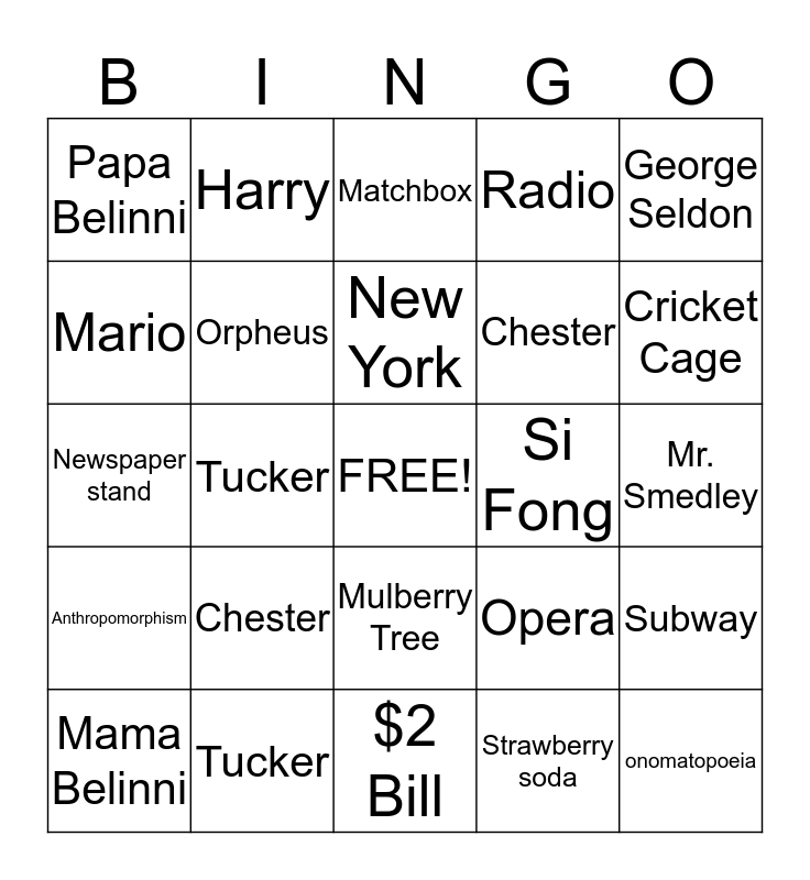 Cricket In Times Square Bingo Card
