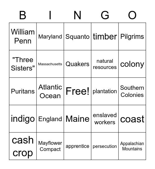 Colonial America Bingo Card