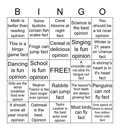 Answer Sheet Bingo Card