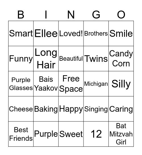 Ellee's Bat Mitzvah Bingo Card