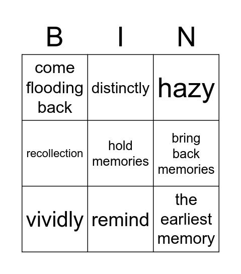 Memories Bingo Card