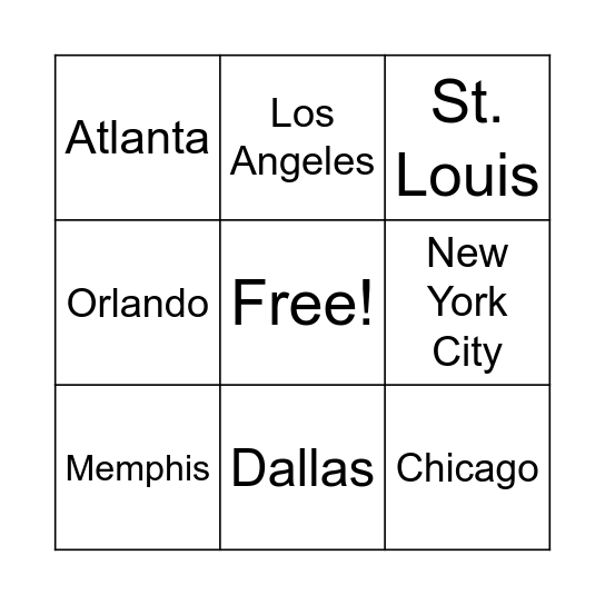 Cities in the United States Bingo Card