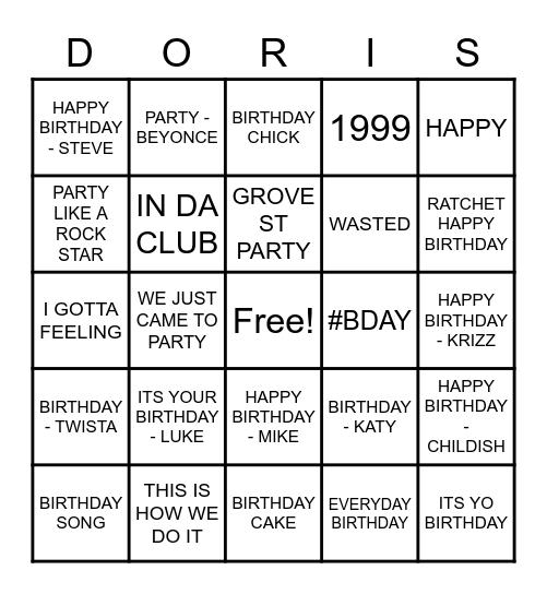 BIRTHDAY/ PARTY SONGS Bingo Card