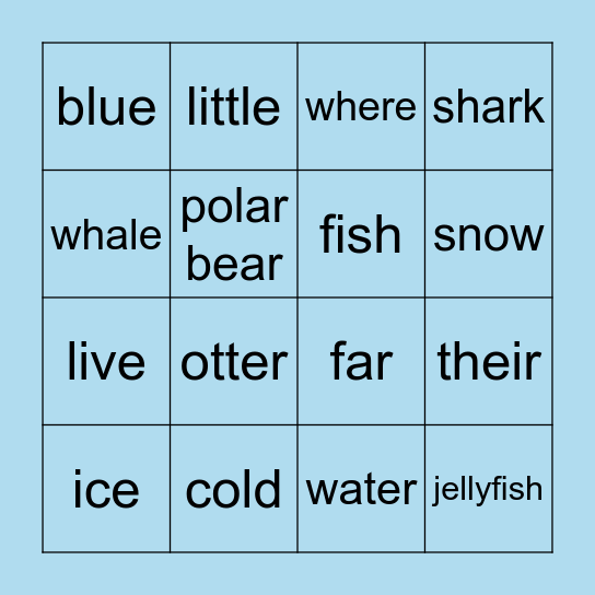 Ocean Vocab Bingo Card